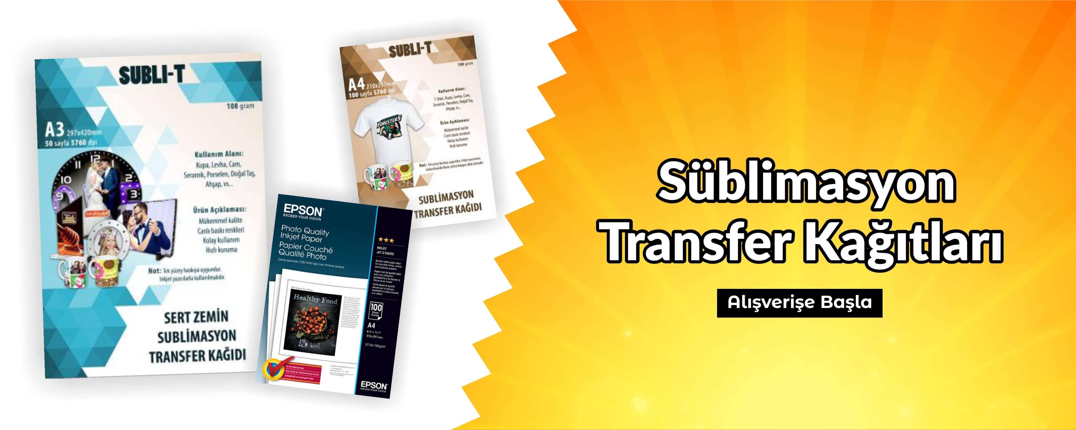 Süblimasyon Transfer Kağıtları