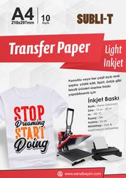Subli-T - A4 Açık Zemin Pamuklu Tişört Transfer Kağıdı