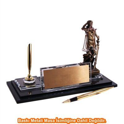 Altın Adalet Heykelli Kristal Masa İsimliği KC1611