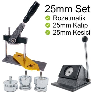 Buton Rozet Baskı Makinesi 25mm Set