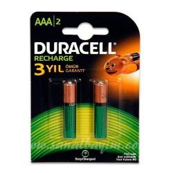 DURACELL - Duracell Şarjlı 750 mAh 2li İnce Kalem Pil HR03