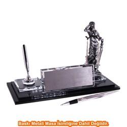 Digitronix - Gümüş Adalet Heykelli Kristal Masa İsimliği KC1612