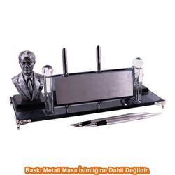 Digitronix - Gümüş Atatürklü Kristal Masa İsimliği KC1604