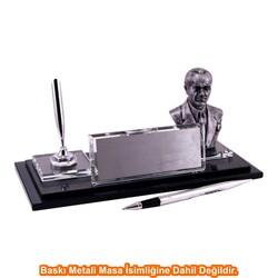 Digitronix - Gümüş Atatürklü Kristal Masa İsimliği KC1610