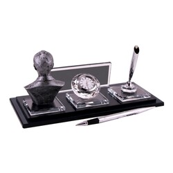 Digitronix - Gümüş Atatürklü Kristal Masa İsimliği KC1610 (1)