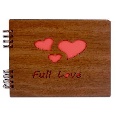 Kendin Yap Ahşap Love Desen Fotoğraf Albümü