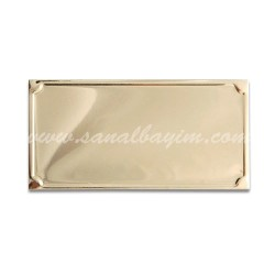 - Lazer Kazıma Alüminyum Altın Plaket 8cm x 4cm