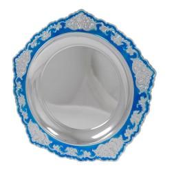 - Metal Ödül Tabağı M333C Gümüş Mavi 21cm