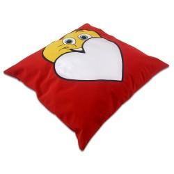 - Sublimasyon Gülümseyen Surat Kırmızı Kare Yastık (1)