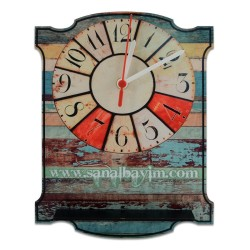 - Sublimasyon HDF Duvar Saati Vintage