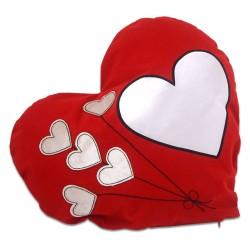 - Sublimasyon Kalpli Balon Desen Kırmızı Kalp Yastık