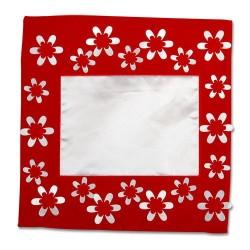 - Sublimasyon Kare Çiçekli Kırmızı 40 cm Yastık Kılı