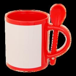 - Sublimasyon Kaşıklı Dekoratif Kırmızı Kupa
