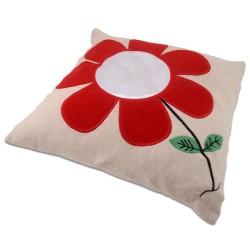 - Sublimasyon Kırmızı Papatyalı Kare Yastık (1)