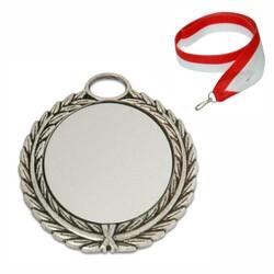 - Sublimasyon Madalya Gümüş 7 cm Çelenkli