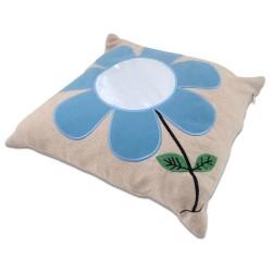 - Sublimasyon Mavi Papatyalı Kare Yastık (1)