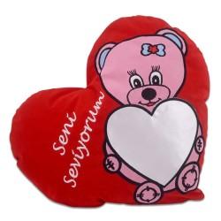 - Sublimasyon Pembe Ayıcık Desen Kırmızı Kalp Yastık