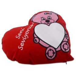 - Sublimasyon Pembe Ayıcık Desen Kırmızı Kalp Yastık (1)