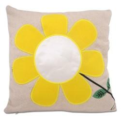 - Sublimasyon Sarı Papatyalı Kare Yastık