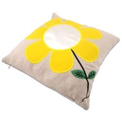 - Sublimasyon Sarı Papatyalı Kare Yastık (1)