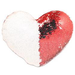 - Sublimasyon Sihirli Kalp Yastık Kırmızı