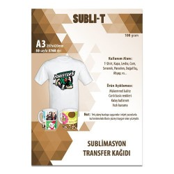 Subli-T - Sublimasyon Transfer Kağıdı A3 Tekstil Subli-T